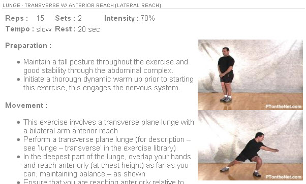 An example of one of the exercises used in the 52 workout program